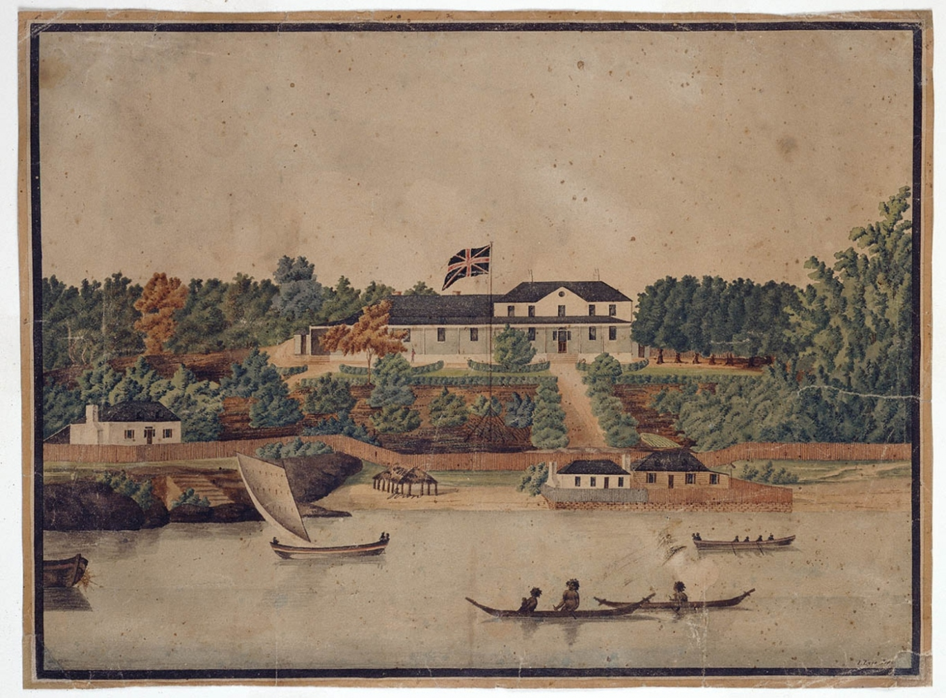 Old watercolour showing the harbour, foreshore area and gardens in front of first Government House. Yachts and aborigines in canoes are depicted on the water.
