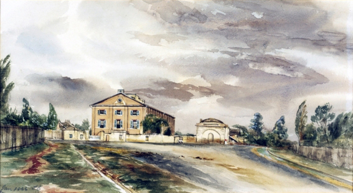 Painting of barracks.