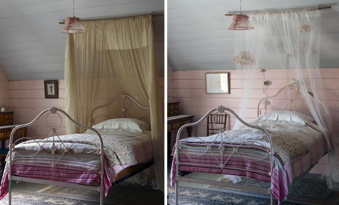 Two photos side by showing bed with canopy, before and after artwork installation.