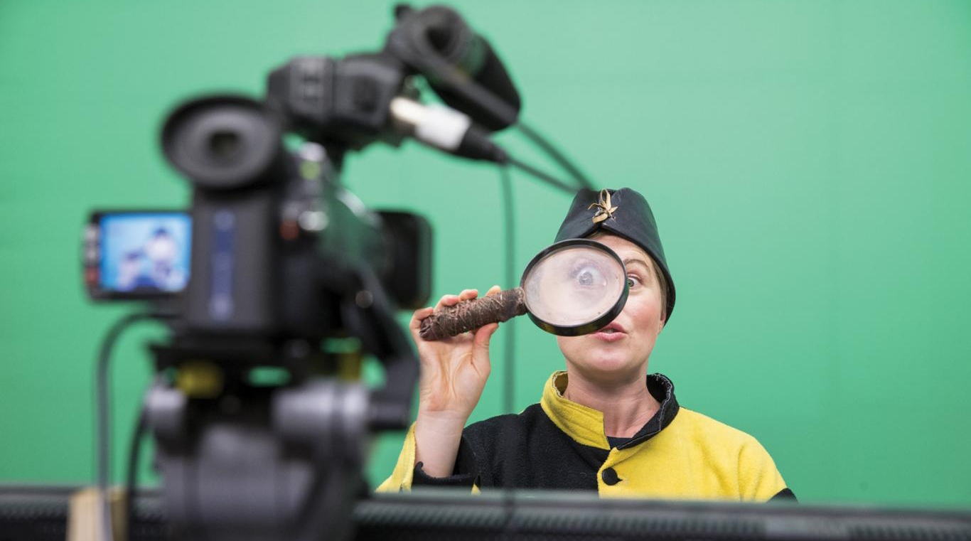 Woman dressed as convict in yellow and black in front of green screen.
