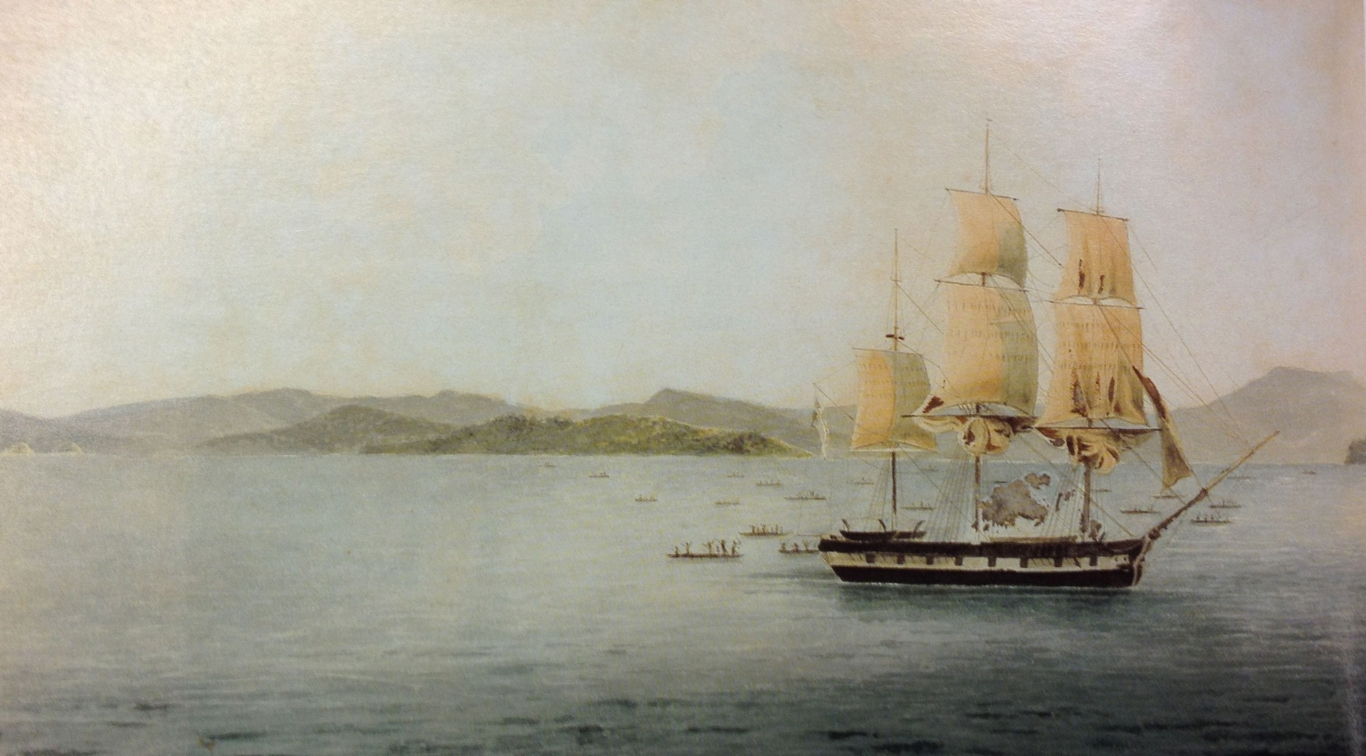 Painting of a ship under sail with pacific island people in canoes around it.