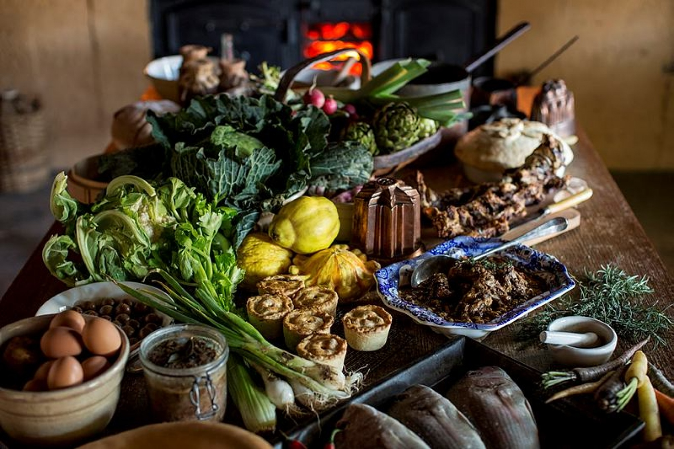 A feast of ingredients in the kitchen at Elizabeth Farm