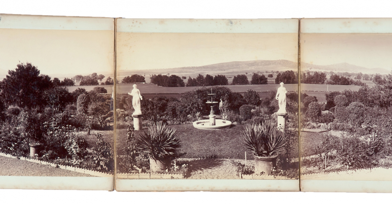 Section of 7-part photographic panorama of Turanville, Scone, 1889