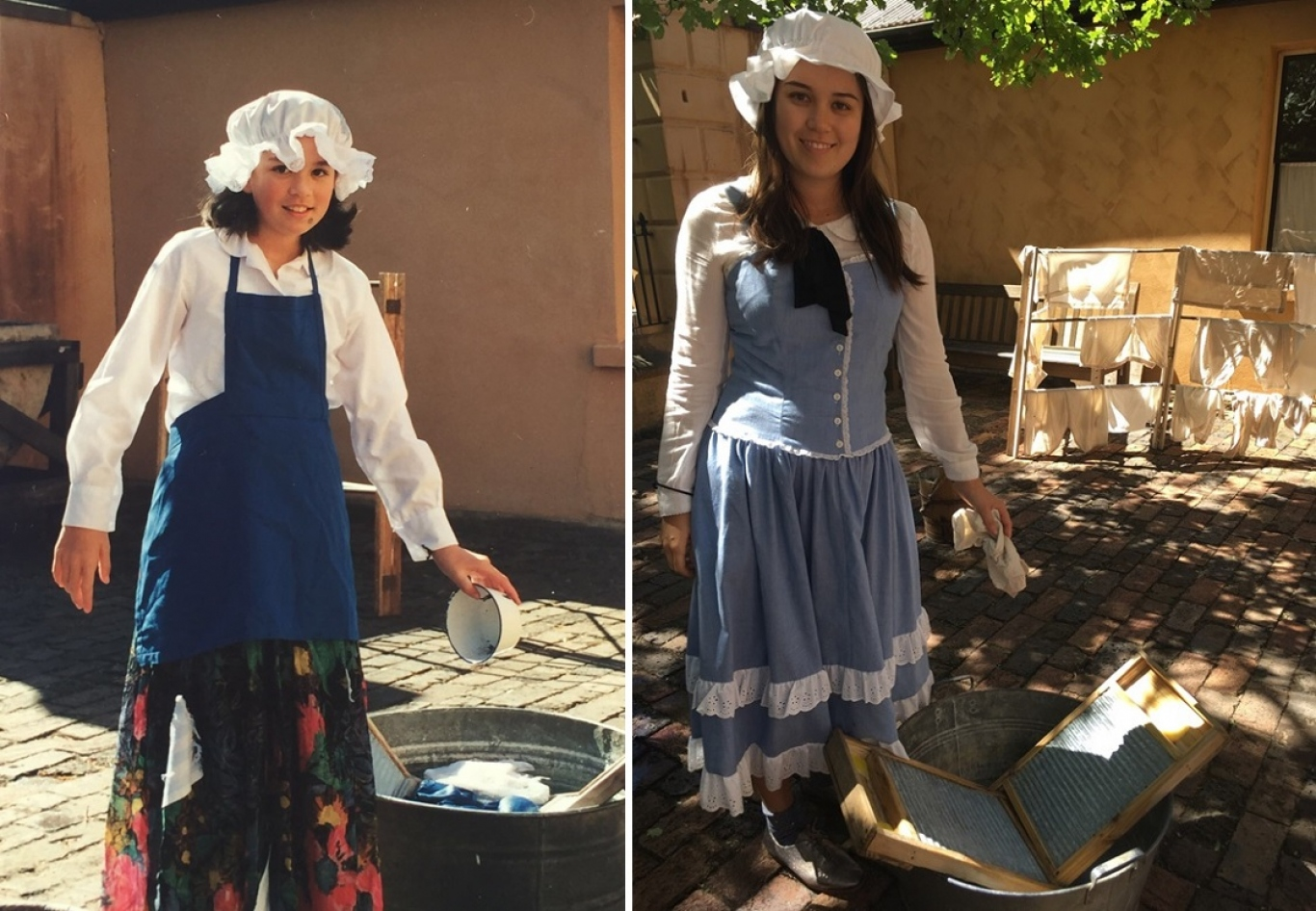 Two images combined into one - left showing subject as student dressed in convict clothing and right showing subject as teacher.