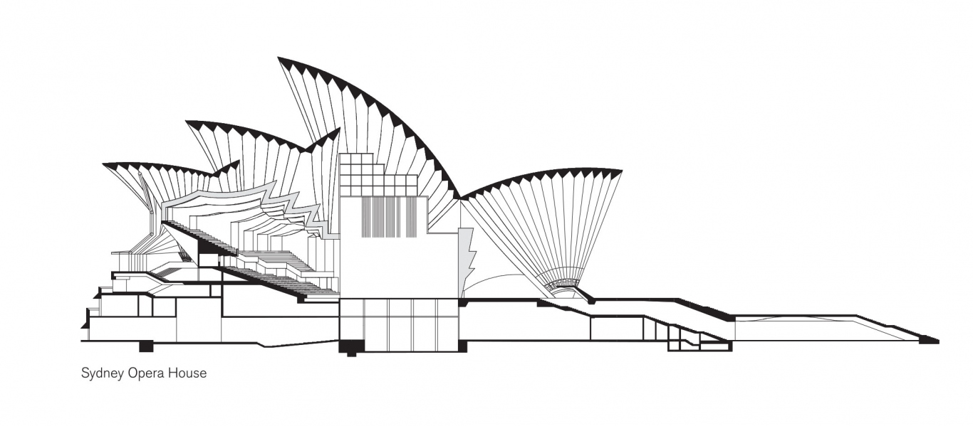 Elevation or drawing of the Sydney Opera House from the side