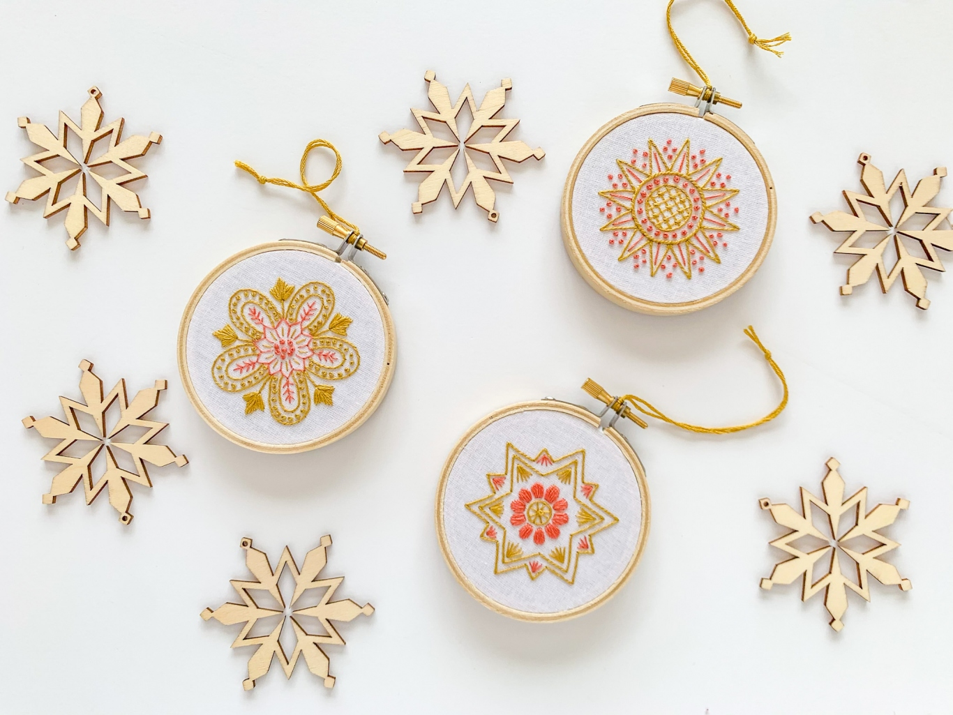 Christmas ornaments scattered on white background.