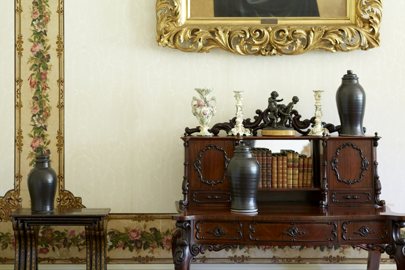 Urns sit on decorative table at Vaucluse House