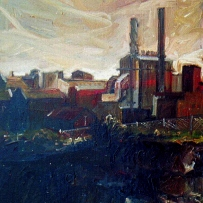 Oil painting of an industrial building by Jane Bennett, 1994