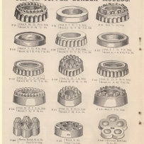 Page from book showing fifteen different mould shapes.