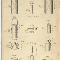 Page from book showing twelve different tinware grater shapes.