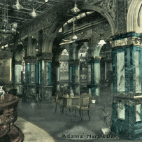 Hand coloured photograph showing the elaborate stonework and panelling of the bar interior.