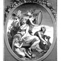 black and white photographic reproduction of an engraving showing women and flora