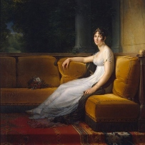 portrait of Portrait of Josephine de Beauharnais (Empress Josephine) where she is sitting on a couch with her legs stretched out and a bunch of flowers sitting next to her.