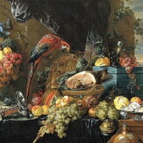 still life painting showing a collection of fruits and foods with a parrot and items of opulence.