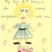 A drawing of a blonde blue-eyed doll with a blue dressed lined with lace