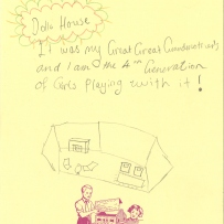 A child's drawing of her doll house which has been used for four generations