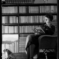 Sylvia in the library