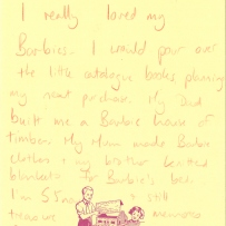 This is a handwritten note about Barbies