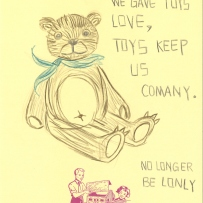 This is a drawing of a teddy bear with text