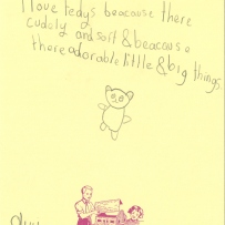 This is a drawing of a teddy bear and a handwritten story