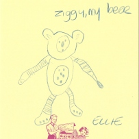 A drawing of a bear, in blue