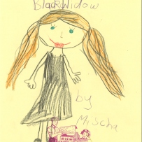 A child's drawing of the Black Widow a marvels character from the Avengers movies