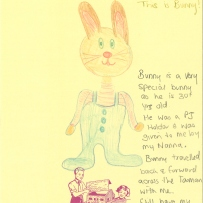 A drawing of a brown bunny toy with a pink striped shirt and blue overalls