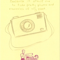 A drawing of a camera with strap