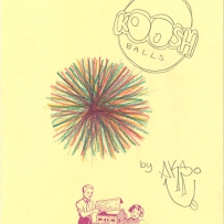 A drawing of a Koosh rubber ball with long stretchy hairs