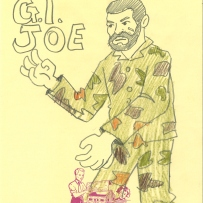 A drawing of a G I Joe soldier doll wearing camouflage gear
