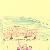 A child's drawing of a red train set on tracks