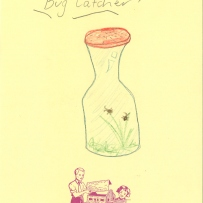 A child's drawing of a bug catcher with two bugs inside