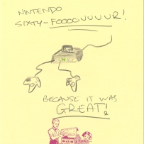 A drawing of the Nintendo 64 games console