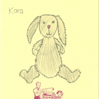 A drawing of a plush bunny