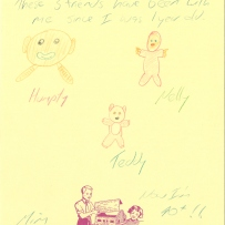A drawing and description of three childhood toys