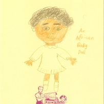 A drawing of an african child doll