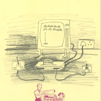 A drawing of an Atari games console with space invaders playing