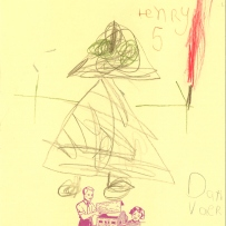 A child's drawing of Darth Vader with red light saber