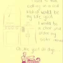 A drawing of a toy stove-top with sink and oven