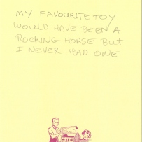 A visitor describes their longing for a Rocking horse they never had