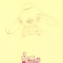 A pencil drawing of Stitch from Lilo and Stitch