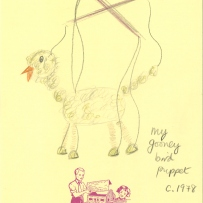 Drawing of a bird puppet with a long neck