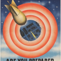 Dramatic poster with large orange target over house silhouettes, one house illuminated, and bomb falling. Words above: Target for to-night. Words below: Are you ready for the blackout?