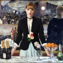 Styled in the manner of an impressionist painting, a young woman with red lipstick, black jacket and pale blue skirt stands behind a bar