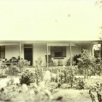 Black and white photo of front of house with garden beds in front, with a yellowish tint.