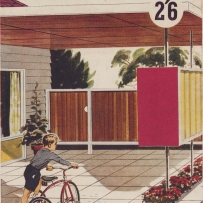 Colour illustration on cover of brochure. Boy with bicycle in driveway of house.