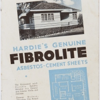 Black and white photograph of house above book title with white on blue home plan image below.