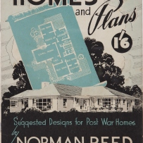 Cover of book, with drawing of house in white on black plus a white on green house plan superimposed.