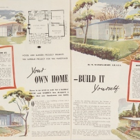 Two page spread with four colour illustrations and a home plan.