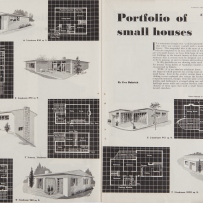 Two page spread with six black and white drawings of houses accompanied by white on black plans.